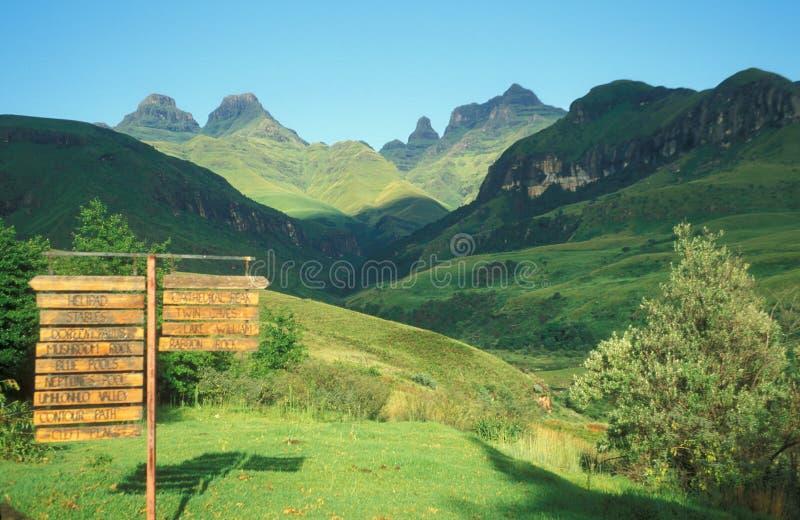 Drakensberg Mountains. At Cathedral Peak, Kwazulu Natal, South Africa royalty free stock photos