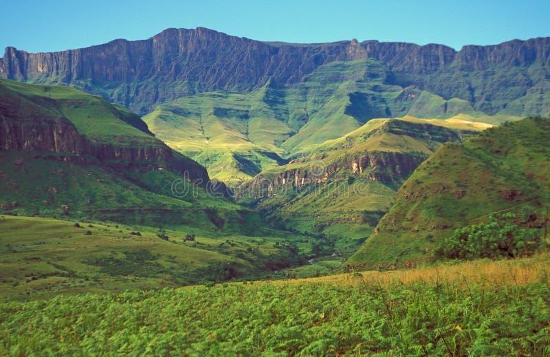 Drakensberg Mountains. Verdent green slopes of the Drakensberg Mountains, South Africa stock photography