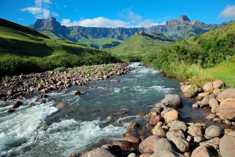 Drakensberg mountains. Amphitheater and Tugela river, Drakensberg mountains, Royal Natal National Park, South Africa stock images