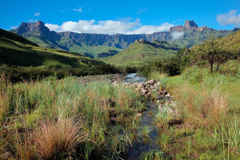 Drakensberg mountains. Amphitheater and Tugela river, Drakensberg mountains, Royal Natal National Park, South Africa royalty free stock photography