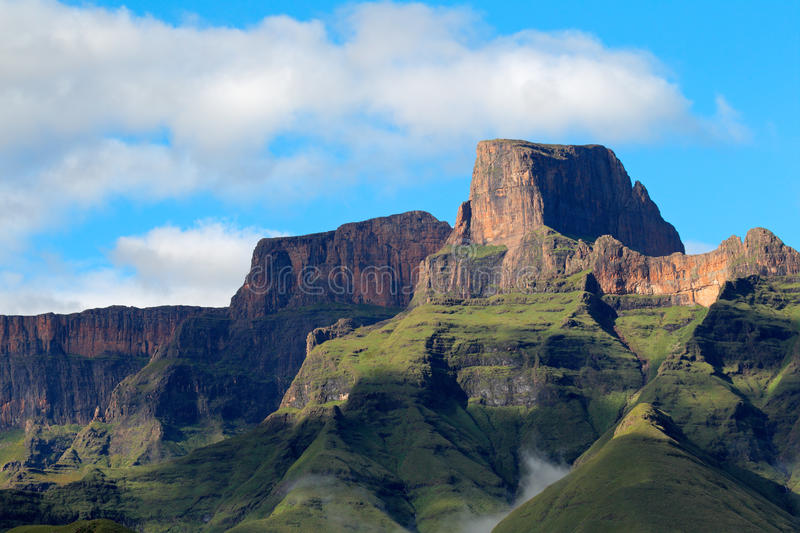 Drakensberg mountains. Sentinel peak in the amphitheater of the Drakensberg mountains, Royal Natal National Park, South Africa stock photo