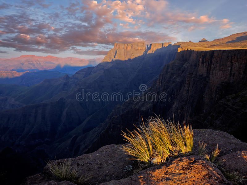 Drakensberg mountains, South Africa. View of the high peaks of the Drakensberg mountains, South Africa stock photography