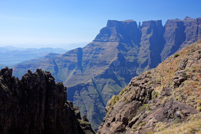 Drakensberg mountains, South Africa. View of the high peaks of the Drakensberg mountains, Royal Natal National Park, South Africa stock photos