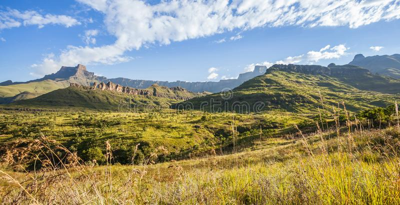 Drakensberg mountains in South Africa. Vista of the mountains. Landscape in South Africa royalty free stock image