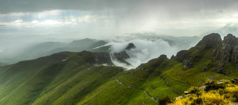 Drakensberg Mountains. View of the Drakensberg Mountains along the Amphitheater in Royal Natal National Park stock photo
