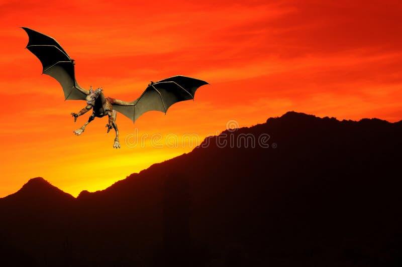 drakesolnedgång royaltyfri foto