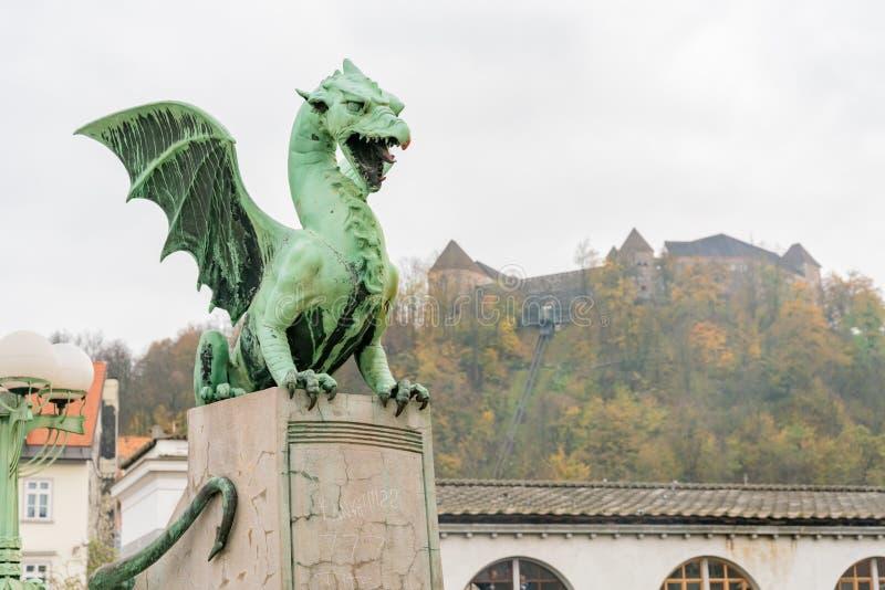 Drakestatyn av Dragon Bridge (Zmajski mest royaltyfria foton