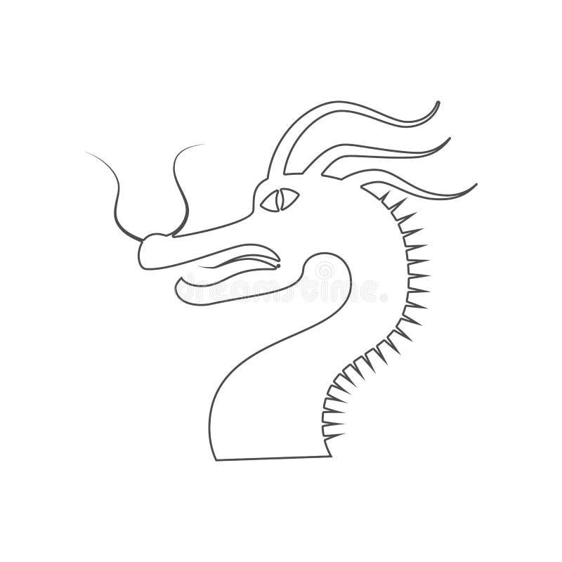 Drakesymbolen Best?ndsdel av Kina f?r mobilt begrepp och reng?ringsdukappssymbol ?versikt, tunn linje symbol f?r websitedesign oc vektor illustrationer