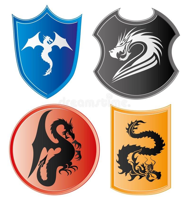 Drakesymboler vektor illustrationer