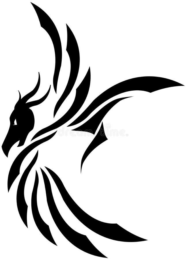 Draketatuering royaltyfri illustrationer