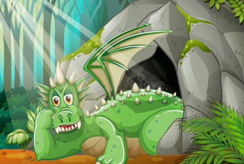 Drakeuppehälle i grottan stock illustrationer
