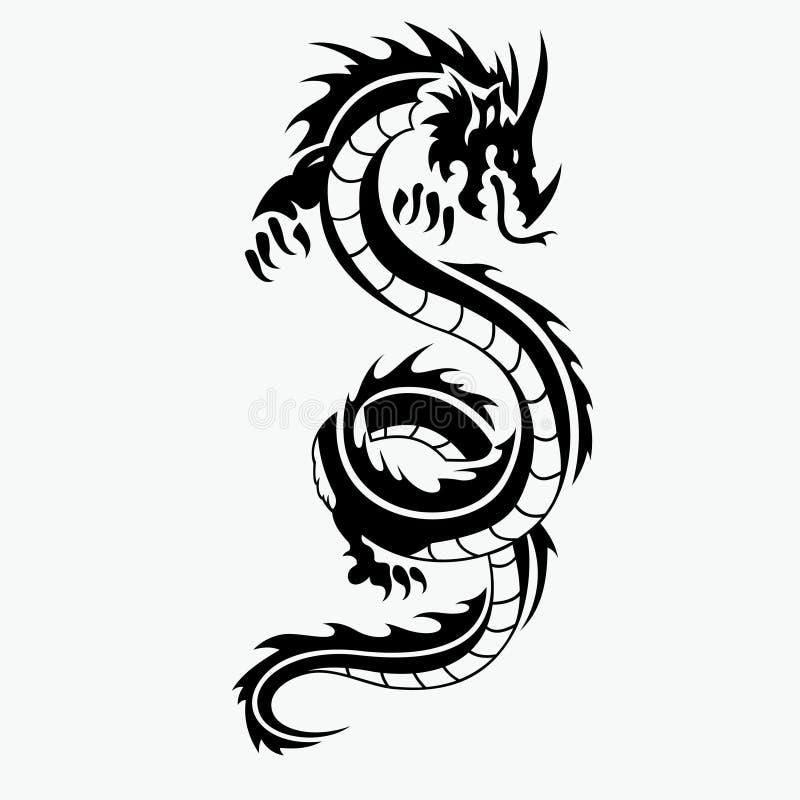 Drakevektorillustration för tatueringdesign royaltyfri illustrationer