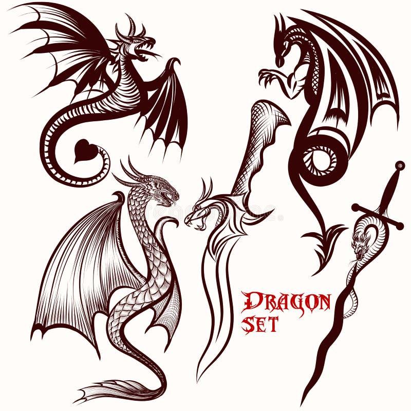Drakevektoruppsättning för tatuering vektor illustrationer