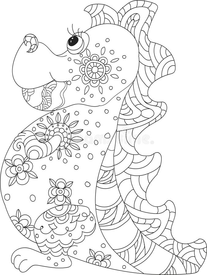 Drakezentangle stock illustrationer
