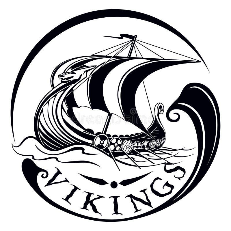 Drakkar, łódkowaty Viking, rocznika żeglowania okręt wojenny royalty ilustracja