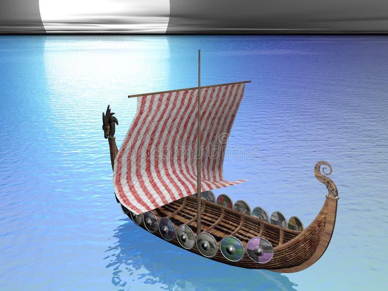Drakkar in mare illustrazione di stock