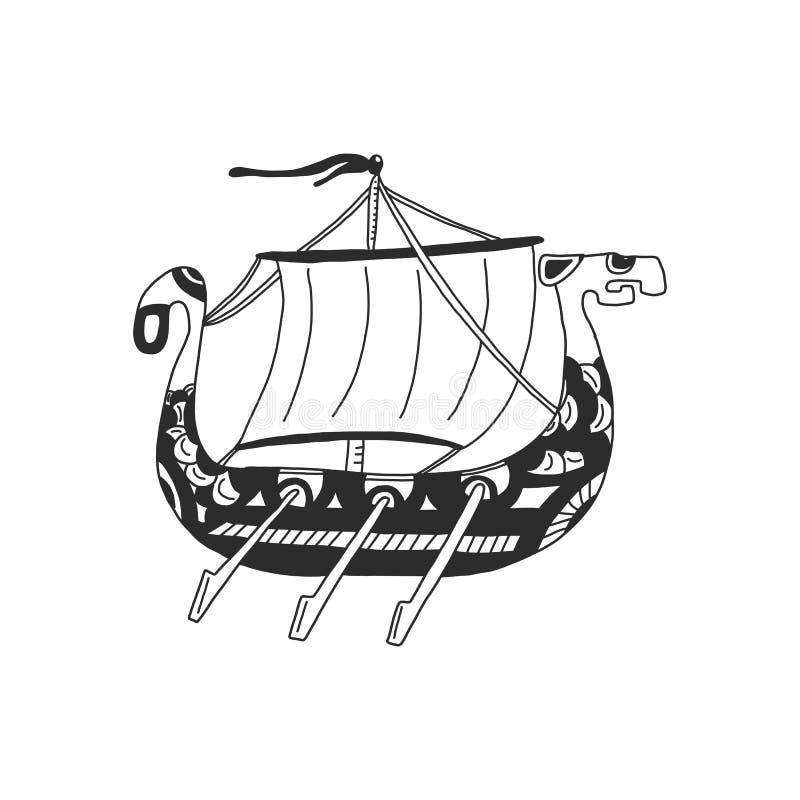 Drakkar Navio de transporte de Viking Ilustra??o do vetor Isolado no fundo branco ilustração royalty free
