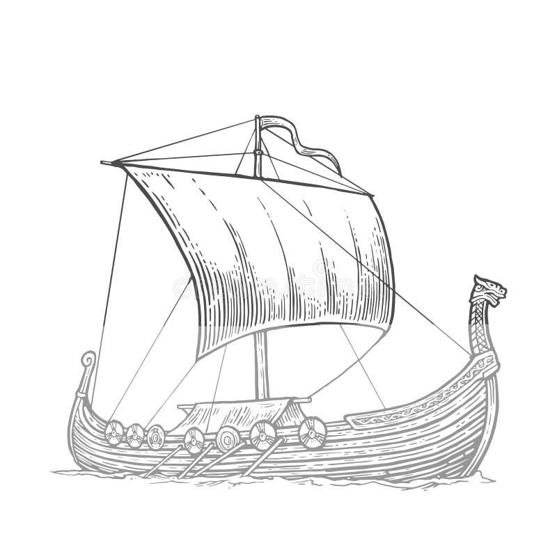 Drakkar que flutua nas ondas do mar Navio de navigação tirado mão do elemento do projeto Ilustração da gravura do vetor do vintag ilustração royalty free