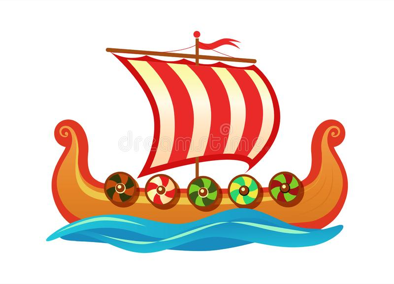 Drakkar - drakkar scandinave de Vikings - illustration colorée d'icône de bande dessinée de vecteur pour l'agence de visite de vo illustration stock