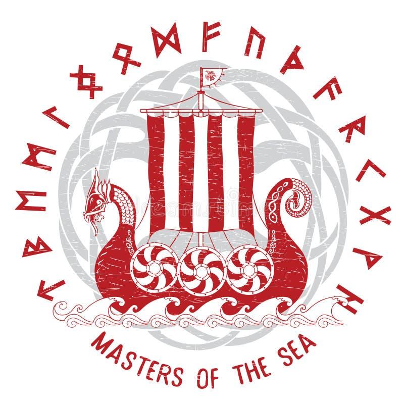 Drakkar-Segeln auf dem stürmischen Meer im Rahmen des skandinavischen Kranzes vektor abbildung