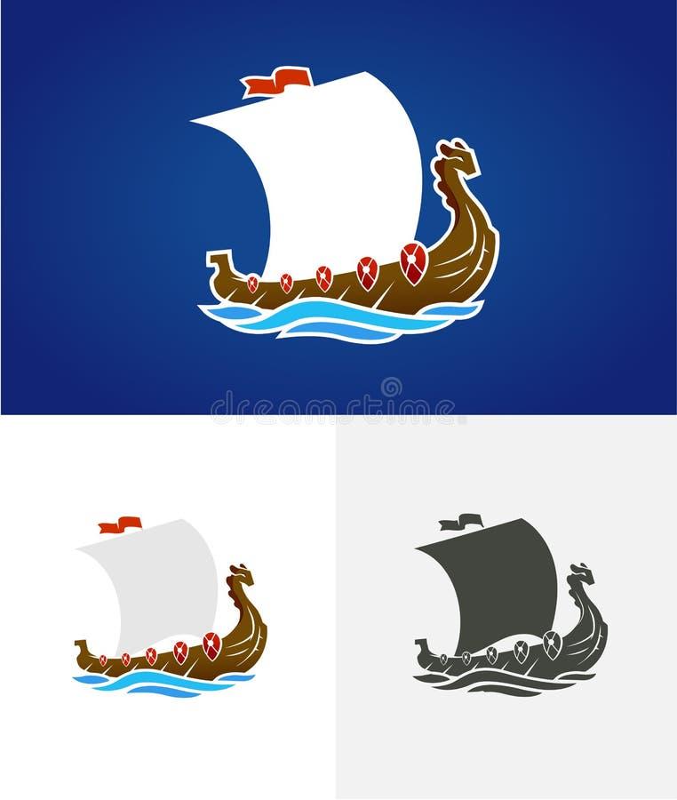 drakkar Viking Żeglowanie statek unosi się na dennych fala Ręka rysujący projekta element Stary Rosyjski statek Rocznika wektor royalty ilustracja