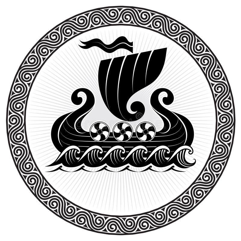 drakkar viking Drakkar skeppsegling på det stormiga havet royaltyfri illustrationer