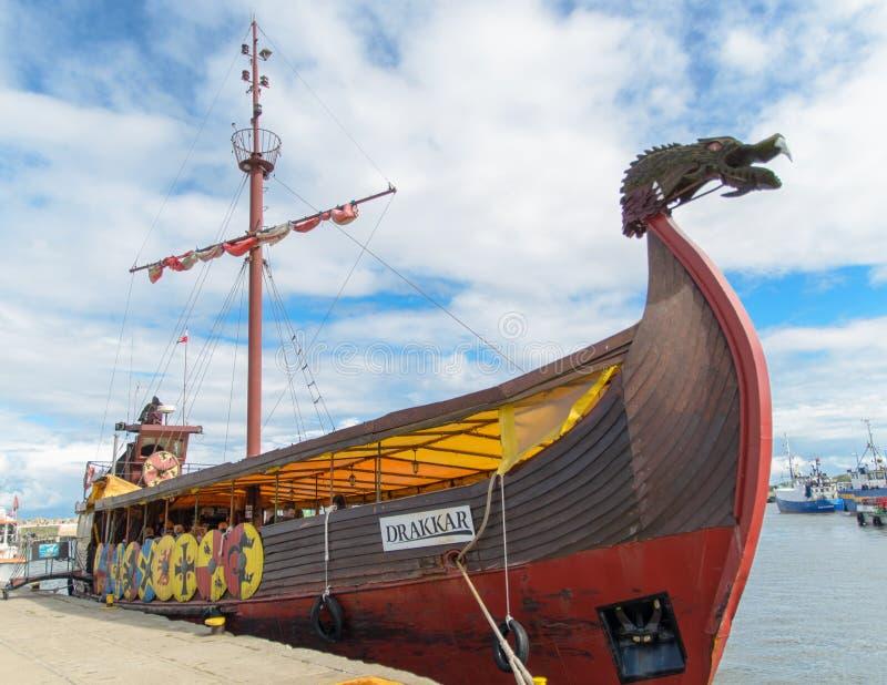 Drakkar vikings ship with head of dragon stock photo