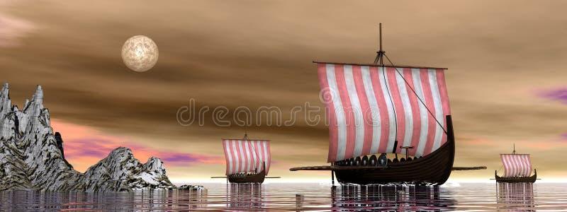Drakkars lub Viking statki - 3D odpłacają się ilustracji