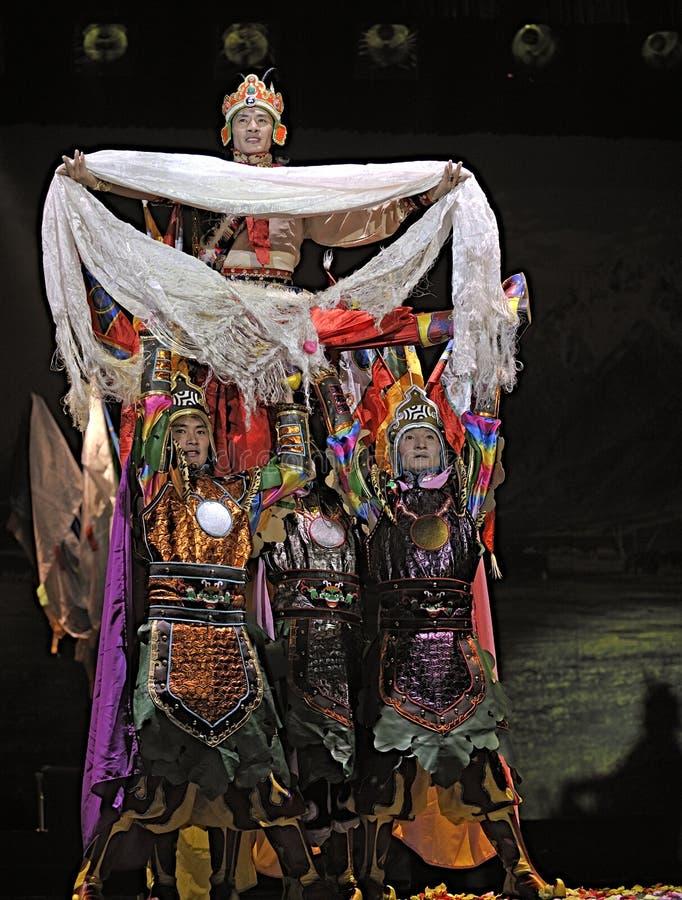 Drama étnico tibetano da dança fotos de stock royalty free