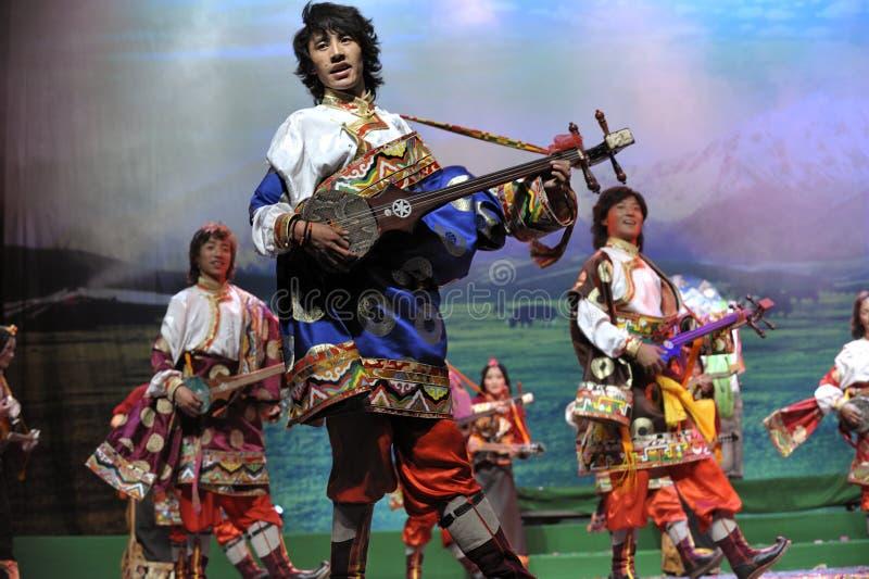 Drama étnico tibetano da dança fotos de stock