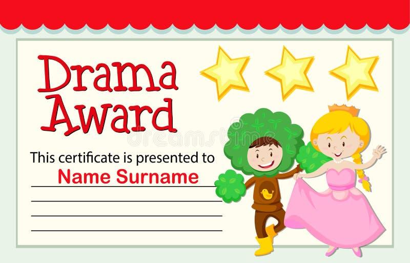 A drama award certificate. Illustration stock illustration