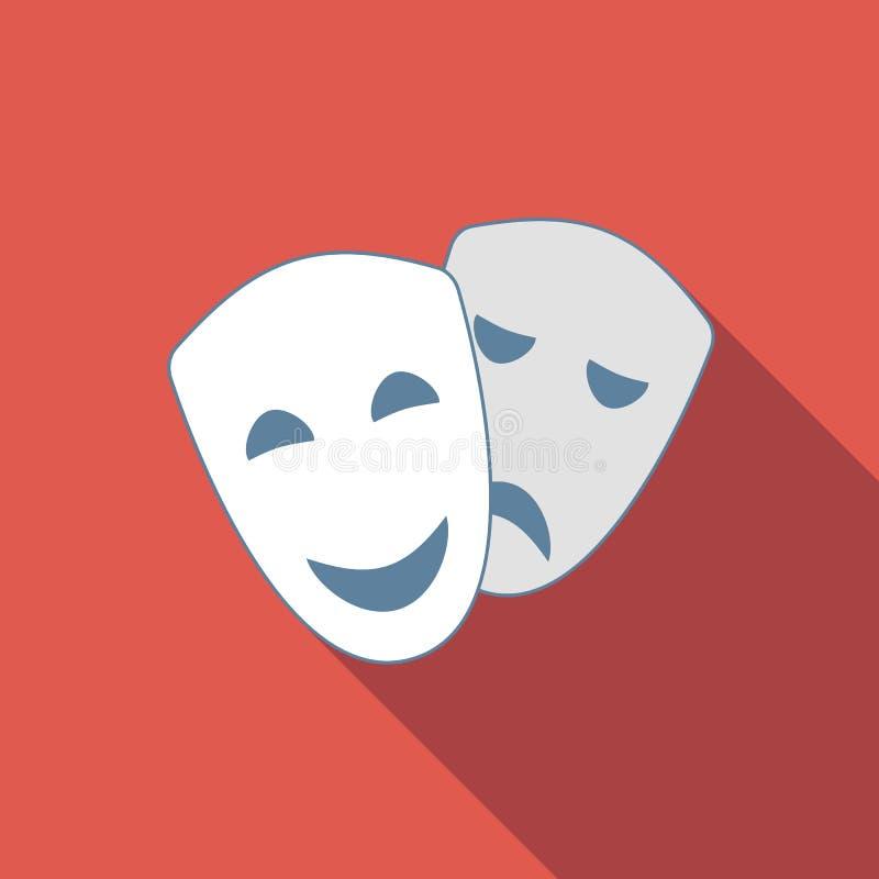 Drama flat icon. Drama and comedy acting masks flat icon stock illustration