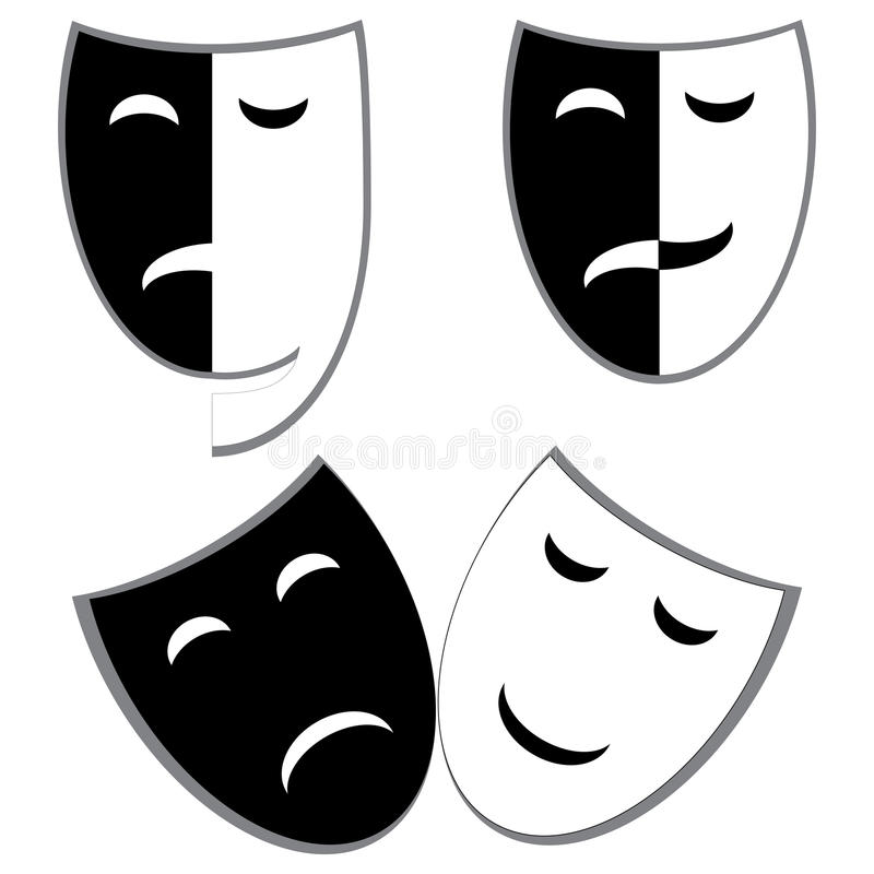 Drama and comedy masks. Illustration stock illustration
