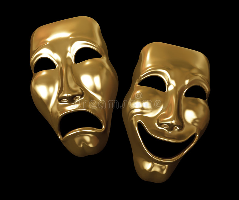 Golden Drama and Comedy Masks. Drama and comedy masks isolated on black background. 3D illustration royalty free illustration