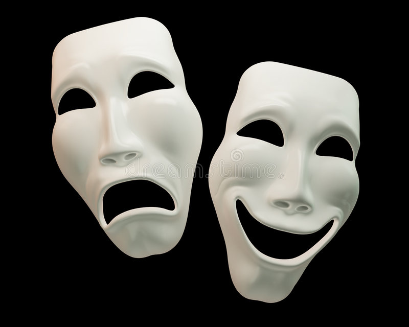 Drama and Comedy Theatre Masks vector illustration