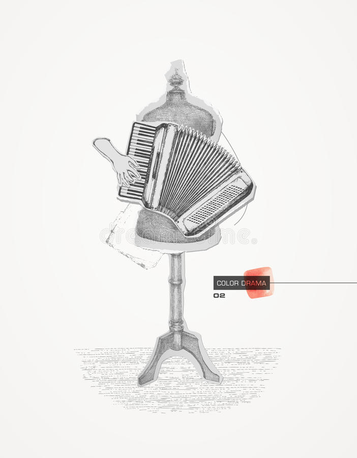 Drama 02 da cor collage ilustração stock