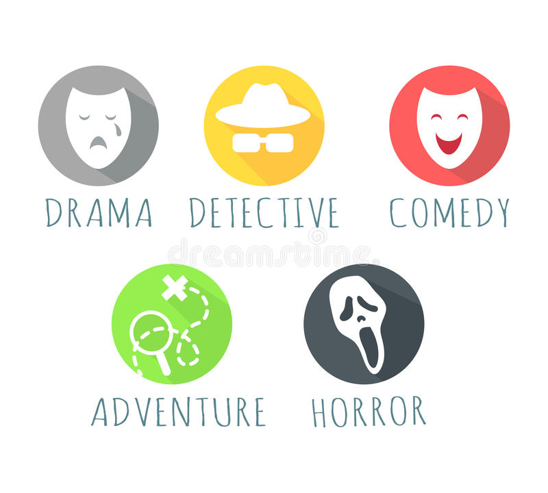 Drama Detective Comedy Adventure Horror Film Logo. Drama, detective, comedy, adventure, horror film logo web button. Types of film logos isolated on white. Movie vector illustration