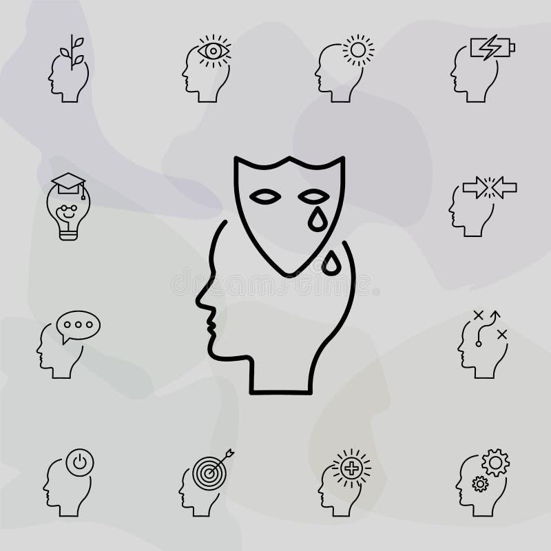 Drama, emoção, ícone da cabeça Conjunto universal de pensamento criativo para design e desenvolvimento de sites, desenvolvimento  ilustração royalty free