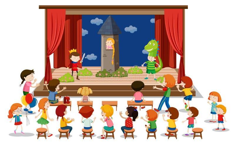 Drama för barnlek på etapp royaltyfri illustrationer