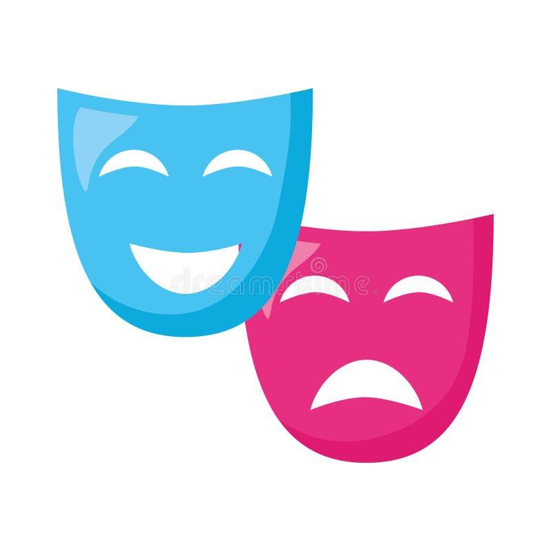 Drama för teatermaskeringskomedi royaltyfri illustrationer