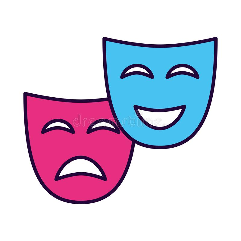 Drama för teatermaskeringskomedi stock illustrationer