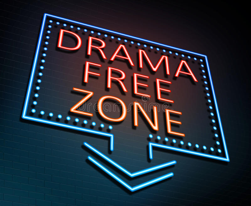 Drama free zone concept. 3d Illustration depicting an illuminated neon sign with a drama free zone concept stock illustration