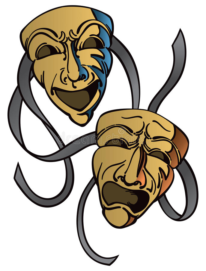 Drama Happy Sad Masks. Happy and sad masks for actors with an isolated background royalty free illustration