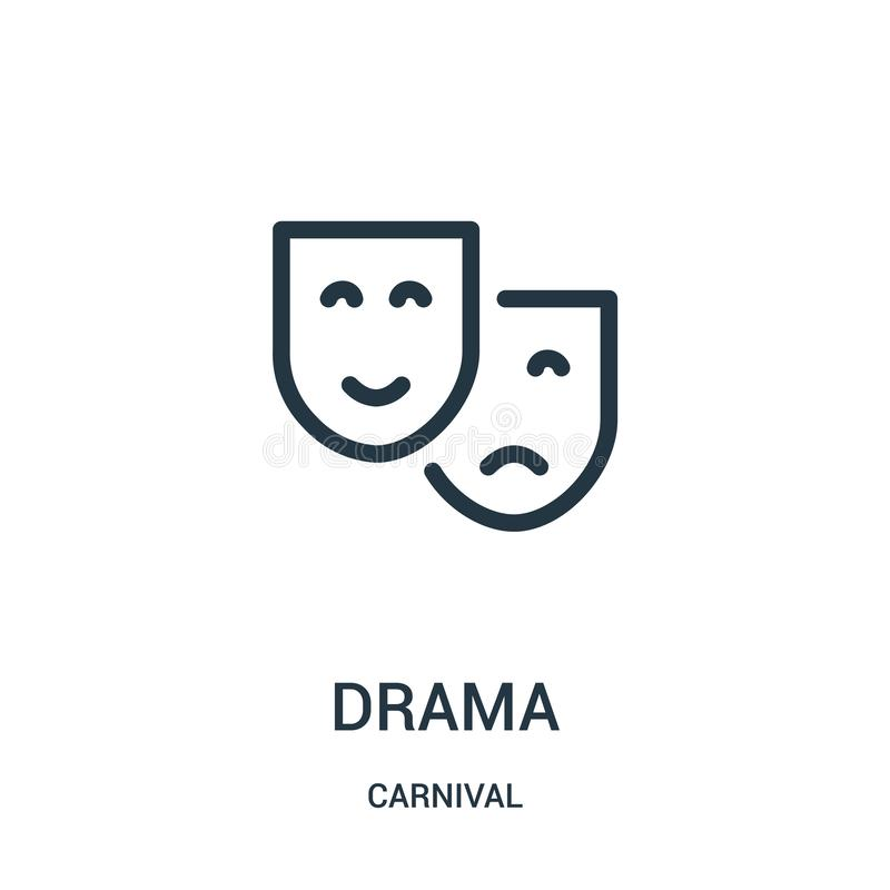 Drama icon vector from carnival collection. Thin line drama outline icon vector illustration. Linear symbol for use on web and mobile apps, logo, print media vector illustration