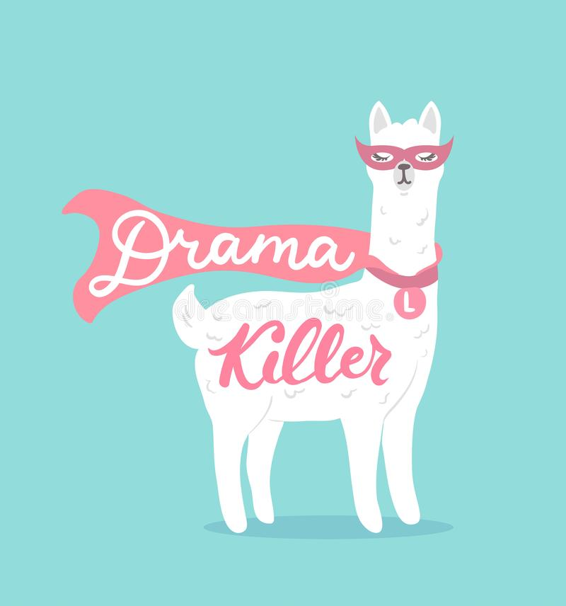Drama killer cute llama design card with superhero llama and let. Tering. Vector card royalty free illustration