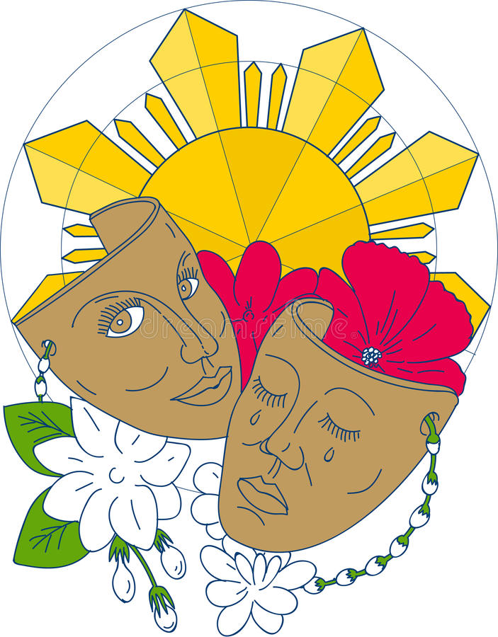 Drama Mask Philippine Sun Hibiscus Sampaguita Flower Mono Line vector illustration