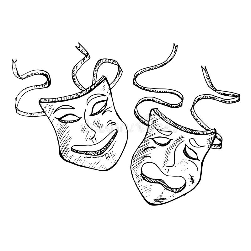 Drama mask sketch, funny and sad faces. Hand drawn monochrome graphic royalty free illustration