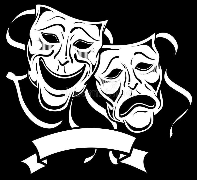 Drama Masks 2. Black and white drama masks vector illustration