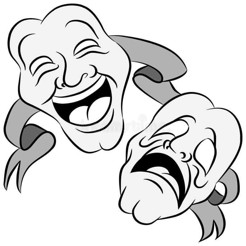Drama Masks. An image of a set of drama masks with happy and sad expressions vector illustration