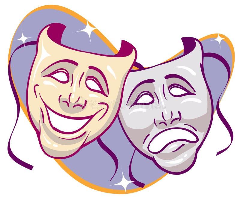 Drama Masks. Sparkled Drama Masks retro expressions vector illustration